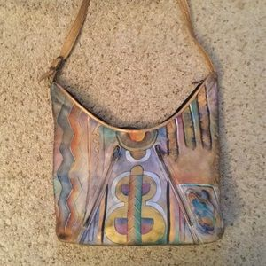 ANUSCHKA ASYMMETRICAL LEATHER SHOULDER BAG PURSE